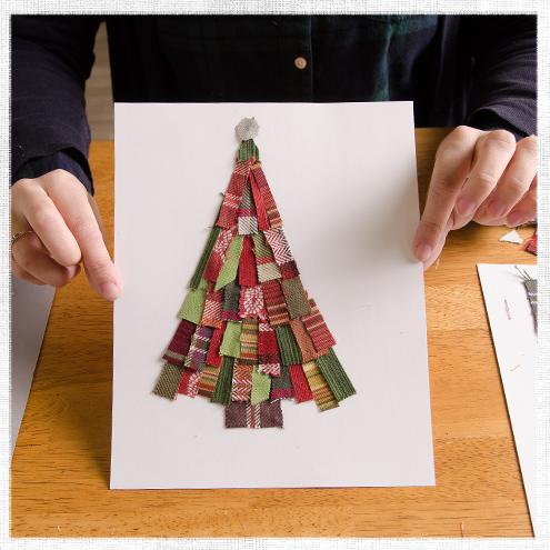 Scrap Fabric Christmas Tree Art