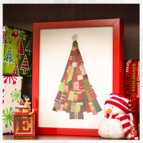 Scrap Fabric Christmas Tree Art