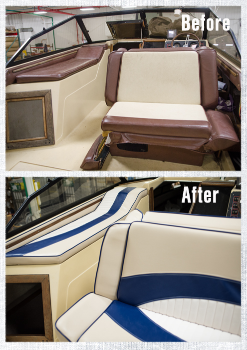 Before & After Sailrite's 2016 Project Powerboat
